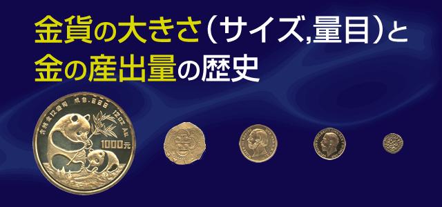 金貨の大きさ(サイズ,量目)