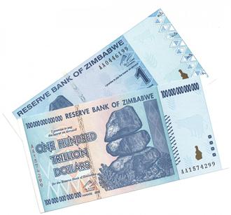 ジンバブエ紙幣 100兆ドルと1ドル[UNC]
