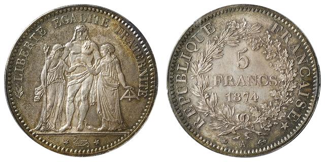 フランス 第三共和国 5フラン銀貨 ヘラクレス像