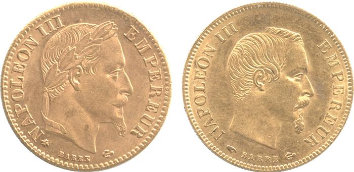 ナポレオン金貨のデザイン(月桂冠)