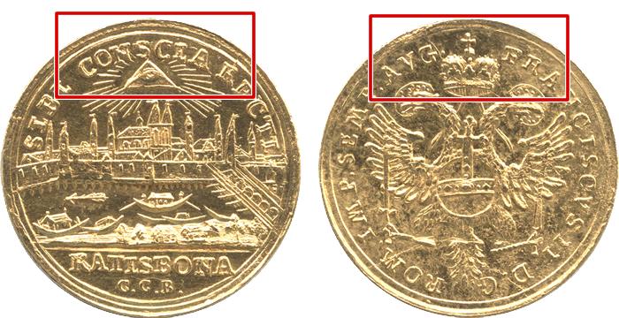 マウント痕のあるコイン(枠付き)