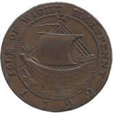 イギリス ハンプシャー ニューポート 1/2ペニー銅貨[EF]【裏面】