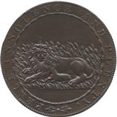 イギリス ケント州 アップルドア 1/2ペニー銅貨  風車・ライオンと子羊【裏面】