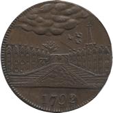 イギリス ヨークシャー・ビーデル 1/2ペニー銅貨 都市景観[EF+]
