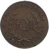 イギリス ヨークシャー・ビーデル 1/2ペニー銅貨 都市景観[EF+]【裏面】