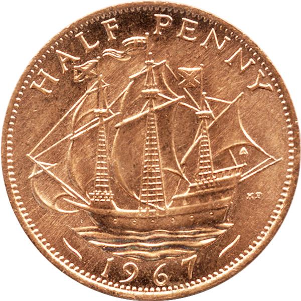 イギリス ハーフペニー銅貨のデザイン(表面)