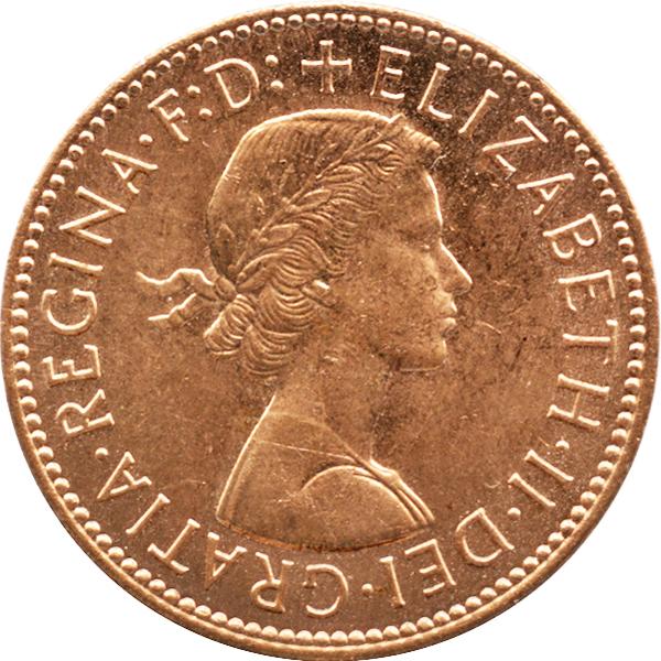 イギリス ハーフペニー銅貨の裏面(エリザベス2世)