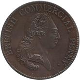 イギリス ジョージ3世&大砲とブリタニア座像  1ペニー銅貨[PF UNC+]