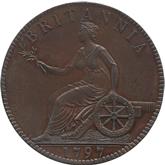 イギリス ジョージ3世&大砲とブリタニア座像  1ペニー銅貨[PF UNC+]【裏面】