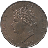 イギリス ジョージ4世 1/2ペニー銅貨[UNC]