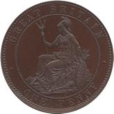 イギリス ヴィクトリア女王  1ペニー・パターン銅貨 ヤング[PF FDC]【裏面】