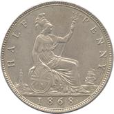 イギリス ヴィクトリア女王 1/2ペニー白銅打ち貨[UNC]【裏面】