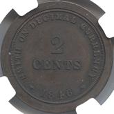 イギリス  ヴィクトリア  2セント・パターン青銅貨 十進法試鋳貨[PF UNC]【裏面】