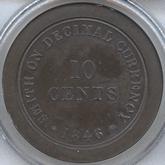 イギリス  ヴィクトリア  10セント試鋳青銅貨 十進法試鋳貨[PF FDC]【裏面】