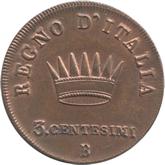 イタリア ナポレオン王国 3センテシミ銅貨[EF+]【裏面】
