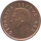 南アフリカ ジョージ6世 1/2ペニー銅貨[PF FDC]