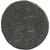ローマ帝国  皇帝ティベリウス セステルティウス銅貨[-F]
