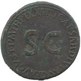 ローマ帝国  皇帝ティベリウス セステルティウス銅貨[-F]【裏面】