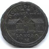 帝政ローマ トラキア地方 銅メダル  2つの寺院[EF]【裏面】