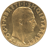 アルバニア ゾグ1世  100フランガ・アリ金貨[AU/UNC]