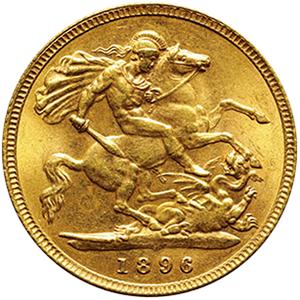 イギリス ヴィクトリア  1/2ソボレン金貨[UNC]【裏面】