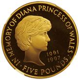 イギリス ダイアナ妃追悼記念  5ポンド金貨[Proof FDC]