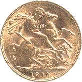 イギリス エドワード7世 1ソブリン金貨[VF+]【裏面】