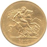イギリス エドワード7世 5ポンド金貨[Matt PF VF]【裏面】