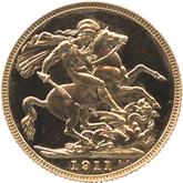 イギリス ジョージ5世 1ソボレン金貨[PF UNC]【裏面】