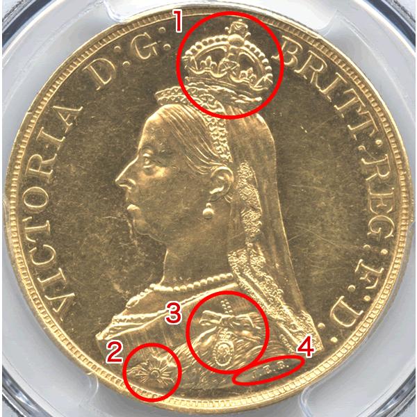 ヴィクトリア女王 金貨のデザイン説明