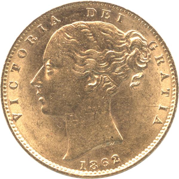 ヴィクトリア女王 1ソボレン金貨のデザイン(表面)