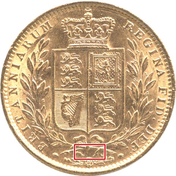 陰刻番号がないヴィクトリア女王 1ソボレン金貨