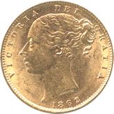 イギリス ヴィクトリア女王 1ソブリン金貨  ワイドデイト[UNC]