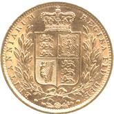イギリス ヴィクトリア女王 1ソブリン金貨  ワイドデイト[UNC]【裏面】