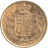 イギリス ヴィクトリア女王 1ソボレン金貨[AU/UNC]【裏面】