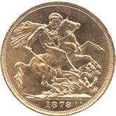 イギリス ヴィクトリア女王 1ソボレン金貨[EF+/UNC]【裏面】