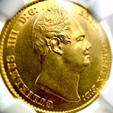 イギリス ウィリアム4世 1ソボレン金貨 ウィリアム・ワイオン作[EF+/UNC]
