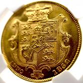 イギリス ウィリアム4世 1ソボレン金貨 ウィリアム・ワイオン作[EF+/UNC]【裏面】