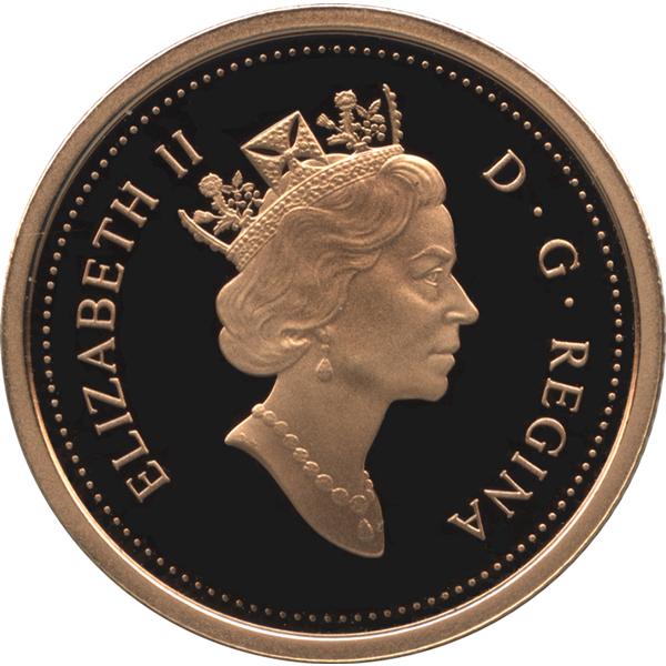カナダ5ドル発行90年記念 5ドル金貨の表面(エリザベス2世)