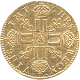 フランス ルイ14世 1ルイドール金貨[AU/UNC]【裏面】