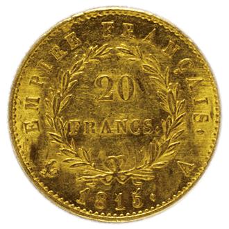 フランス ナポレオン1世  20フラン金貨(百日天下)[AU]【裏面】