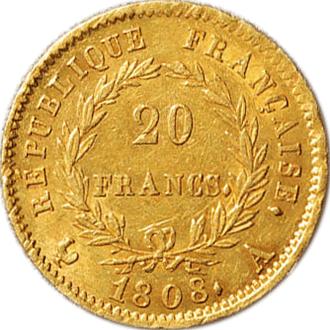 フランス ナポレオン1世  20フラン金貨(共和国タイプ)[EF]【裏面】