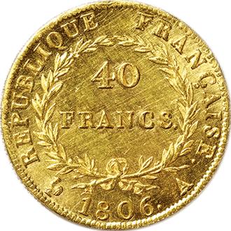 フランス ナポレオン1世  40フラン金貨[AU/UNC]【裏面】