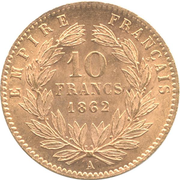 ナポレオン3世金貨の裏面のデザイン