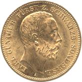 ドイツ シュヴァルツブルク・ゾンダースハウゼン 20マルク金貨[AU/UNC]