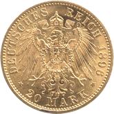 ドイツ シュヴァルツブルク・ゾンダースハウゼン 20マルク金貨[AU/UNC]【裏面】