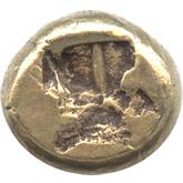 古代ギリシャ エレクトロン1/6ステーター金貨 グリフォン頭像[VF]【裏面】