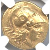 古代ギリシャ マケドニア王国 ステーター金貨 右向きアテナ頭像[-EF]