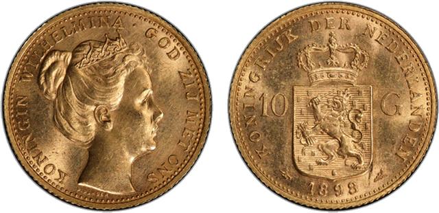 ウィルヘルミナ女王の青年期の10グルデン金貨