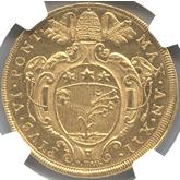 イタリア 教皇領ボローニャ ピウス6世 10ゼッチーニ金貨[AU]【裏面】